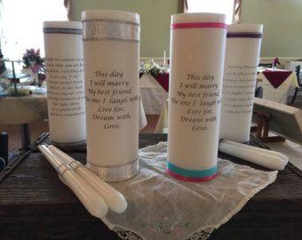 Bruiloft eenheid of geheugen kaars aangepast 3 x 9 wit of uit witte gedicht, namen enz