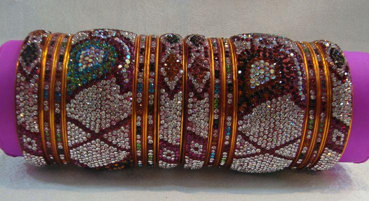 White Color Leaf - Jumbo Kangan - Wedding Bangles from Lal10.com