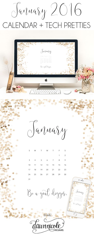 January 2016 Calendar + Tech Pretties | dawnnicoledesigns.com