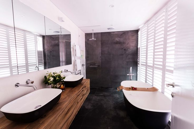 Josh and Charlotte's winning ensuite featured the Bluestone Sawn tile from Beaumonts, along with HotWire under tile heating. For more bathroom and ensuite inspiration, check out http://www.beaumont-tiles.com.au/Room-Ideas/Ensuites