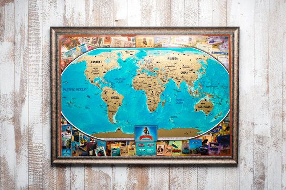 Travel Scratch off world Map Premium gift for travelers and – World Map Gifts For Travelers