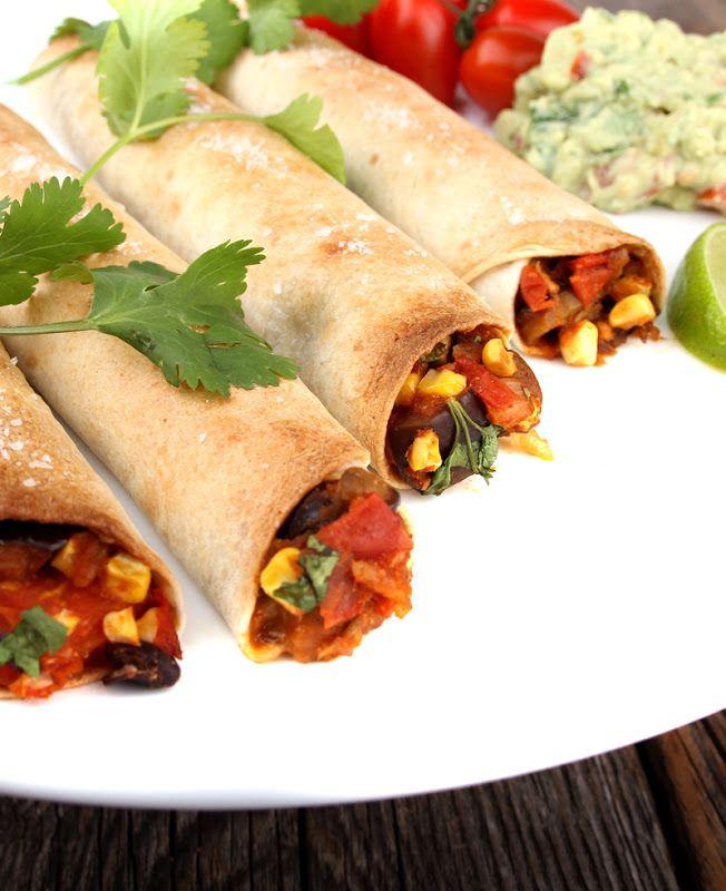 Oppskrift Tacoruller Taquitos Tortillas Texmex Vegetartaco Vegansk Hjemmelaget Tacofyll Aubergine Bønner Mais