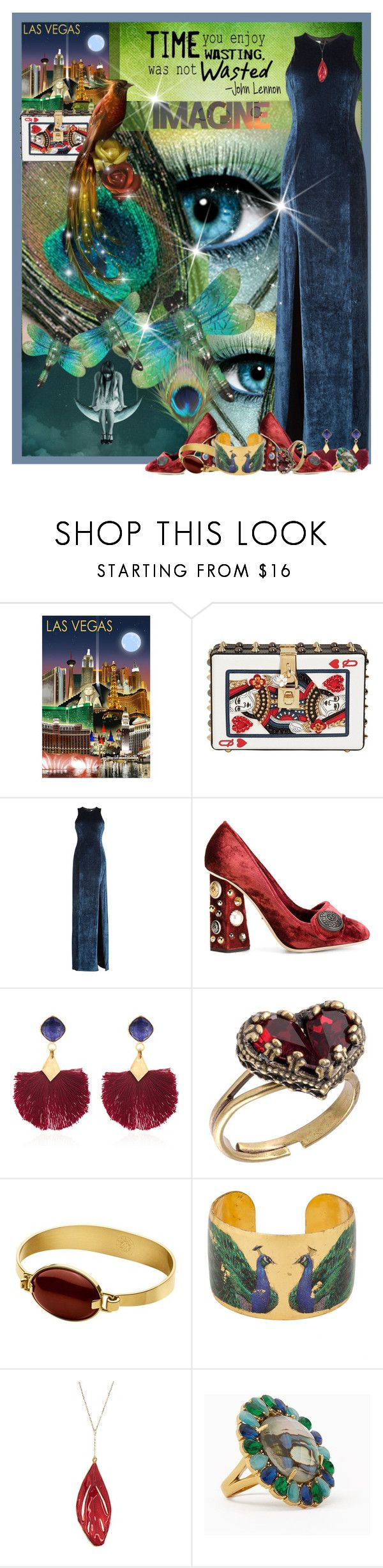 """""""It's Not A Question Of Art Or Fashion - It's Vegas, So It's Anything You Want It To Be"""" by sharee64 ❤ liked on Polyvore featuring Dolce&Gabbana, Galvan, Ottoman Hands, Michal Negrin, Dyrberg/Kern, Évocateur and Kate Spade"""