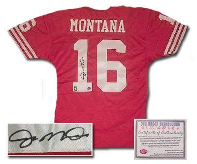 Joe Montana San Francisco 49ers NFL Hand Signed Authentic Style Red Football Jersey . $474.99. When the going got tough, the San Francisco 49ers turned to Joe Montana. As quarterback, Montana led his team to 31 4th quarter come-from-behind wins giving him the nickname The Comeback Kid. During his 14 years with the 49ers he directed them to four Super Bowl wins and three Super Bowl MVP awards for himself. Joe Cool was selected to eight Pro Bowls, a record for quarterbacks at ...