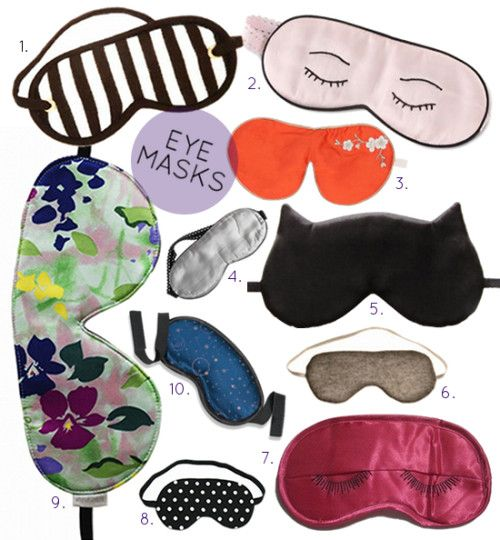 by ALAS - 1. Cashmere eye mask (part of a 3-piece set) $298 | 2. Sleeping Eye Mask $26 | 3. Silk Eye mask filled with lavender $74| 4. Re...