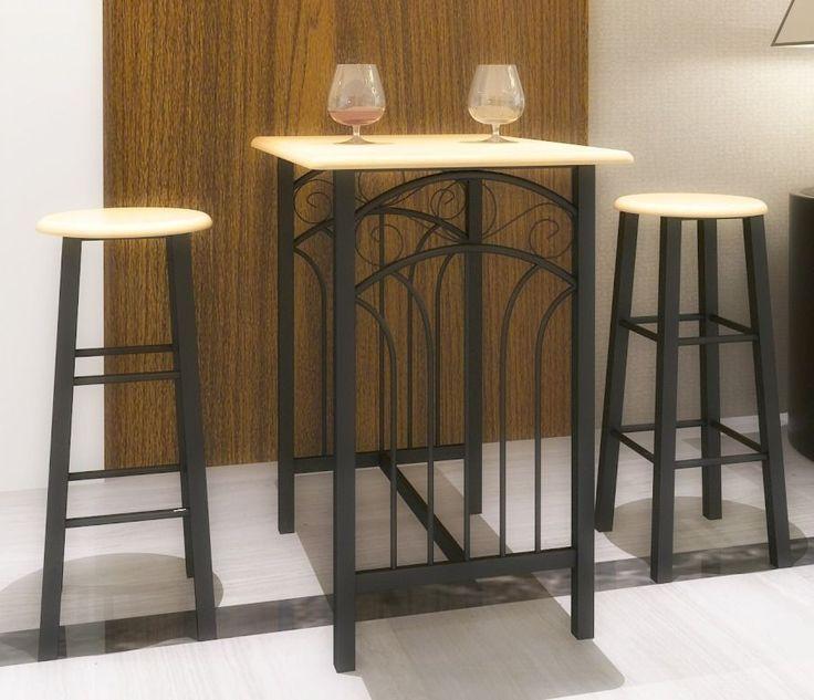 Breakfast Dining Set Table Bar Stools Wooden Black Steel Kitchen Pub Furniture #Breakfast #Dining #Set #Table #Bar #Stools #Wooden #Black #Steel #Kitchen #Pub #Furniture