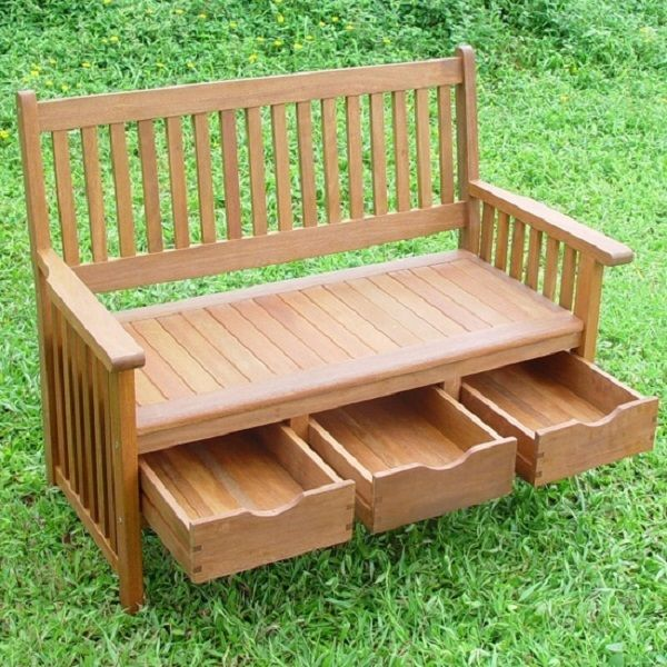 Hardwood Garden Bench with Storage Drawers - http://www.decorationarch.com/creative-ideas/hardwood-garden-bench-with-storage-drawers.html