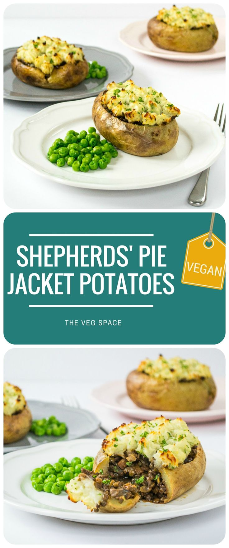 Fun!! These Veggie Shepherds' Pie Jacket Potatoes are a vegetarian & vegan twist on the great British classic. With a red wine, puy lentil & mushrooms gravy filling, and light and fluffy mash piped on top.