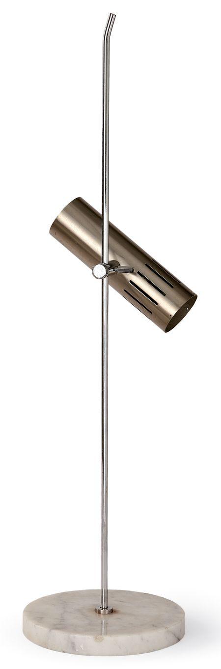 Alain Richard :: Chromed Metal and Marble Table Lamp for Disderot, c1965