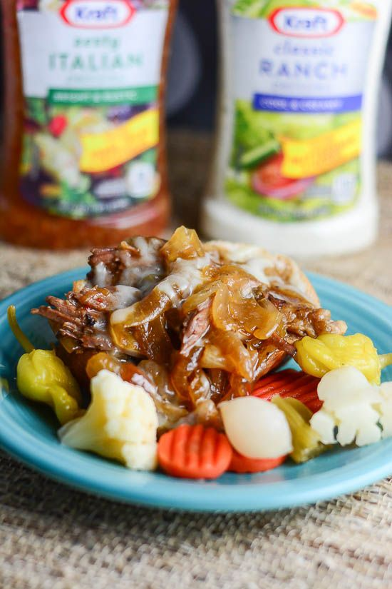 Juicy Pot Roast Recipe with Italian Ranch Sauce is a slow cooker pot roast seasoned with Italian Salad Dressing and Ranch Salad dressing.