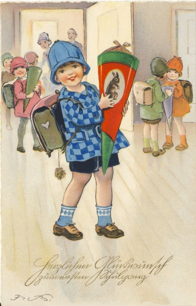 Künstlerkarte:  Zum ersten Schulgang, Fritz Baumgarten, M&B Serie 3054