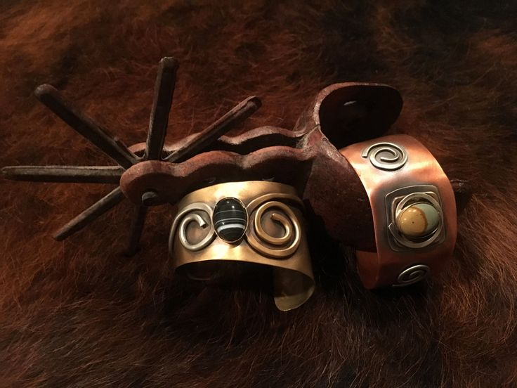 Copper Metal Cuff Bracelet with Black Sardonyx Stone - A Cowgirl's Promise LLC Store