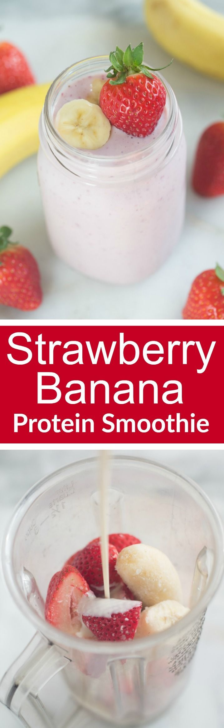The BEST fresh Strawberry and Banana Protein Smoothie, with a secret ingredient!   Tastes Better From Scratch @LoveMySilk #ad