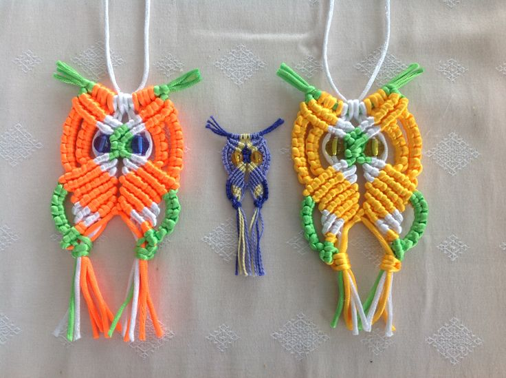 I did another couple of owls the one on the left is the same size as the yellow, green and gold one I posted but the small one measures 7.5 cm from middle of head to end of tassels. I did this one in DMC cotton perle no. 5 it's the thread I use for embroidery changed the eyes 6 times still not happy want this size for a pendent for kumihimo necklace