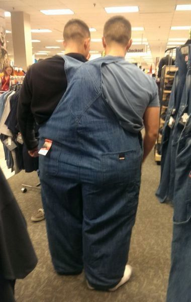 Two For One Sale On Cheap Overalls at Walmart - Buy One Get One Free - Funny Pictures at Walmart