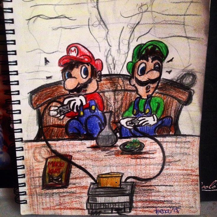 Nintendo 64... Stoned  Mario and Luigi blazing up while playing a game of mariokart.