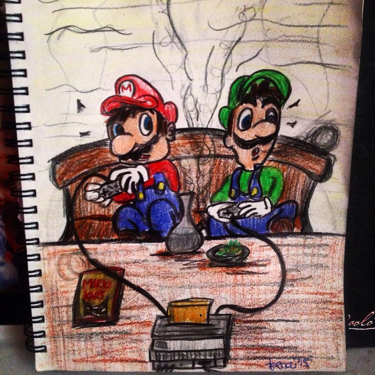 Nintendo 64... Stoned  Mario and Luigi blazing up while playing a game of mariokart.