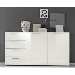 Madia moderna L 161 cm cassetti rallentati finitura bianco laccato lucido - 449 euro  #madia #design #madeinitaly