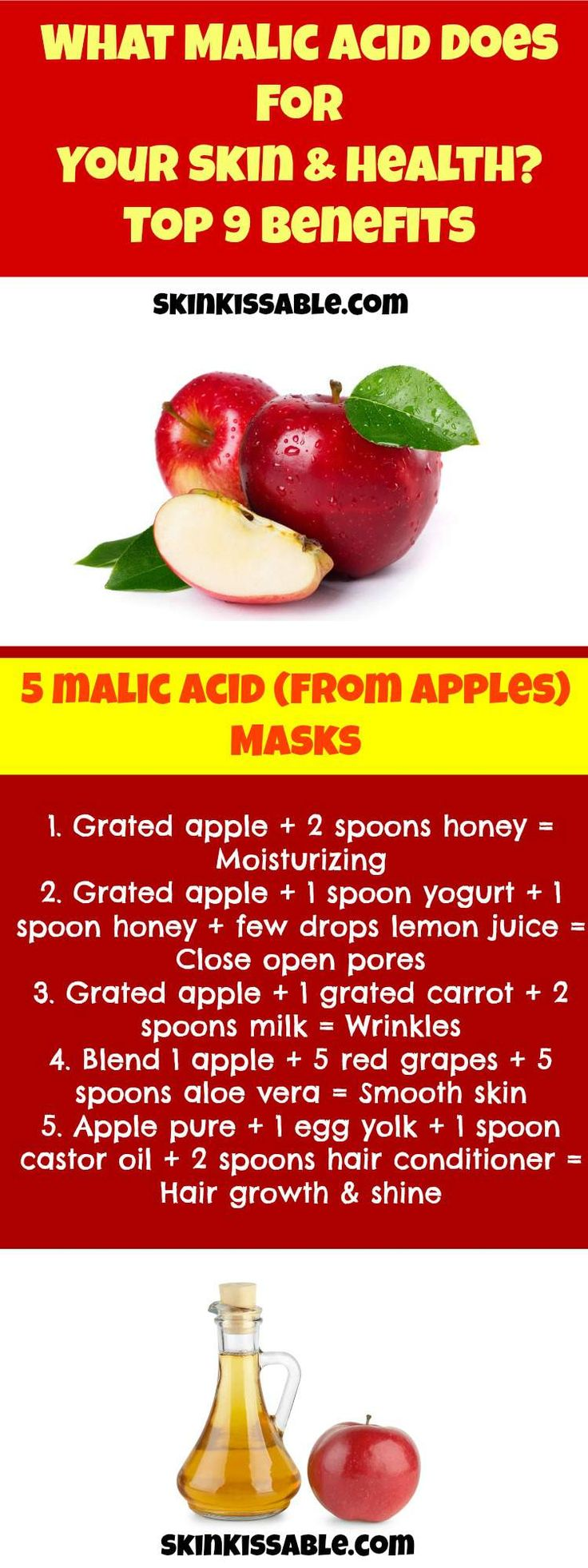 Malic acid skin care products have a great benefit for the skin. It is derived from fruits such as apples and is also beneficial for health.  Discover the top benefits and 5 homemade natural recipes for face & hair made from apples.