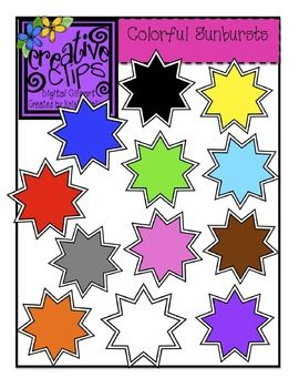 Free Colorful Sunburst Clipart from Creative Clips by Krista Wallden :) Personal and commercial use allowed with credit given :)