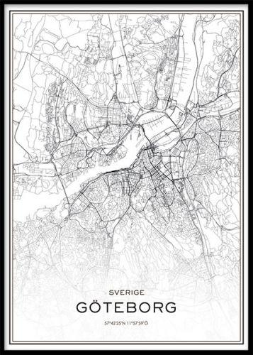 Tavla med Göteborg karta. Poster / affisch med stadskarta över Göteborg stad i storleken 50x70cm