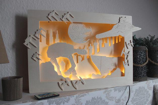 """DIY: Leuchtbox """"Star Wars"""", Wandbild mit LED-Lichterkette und Fernbedienung. Anleitungs zum Selbstmachen gibt´s unter:   https://www.facebook.com/Binila.kreativ"""