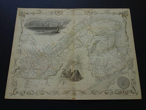 1851 original antique John Tallis map of east by VintageOldMaps