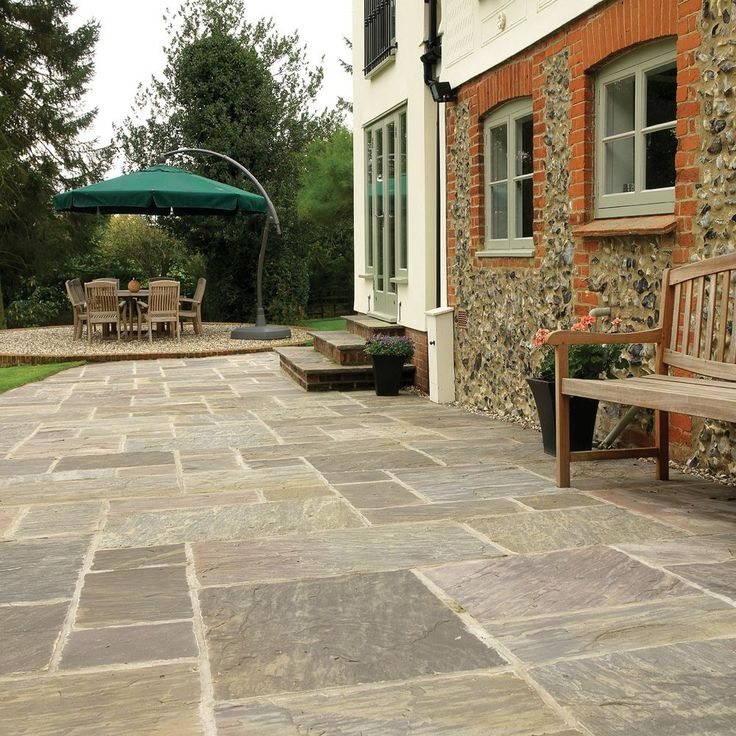 Pavestone Paving-Riven Sandstone-Old Black-PAVING SLABS MIXED SIZE 20 7m2