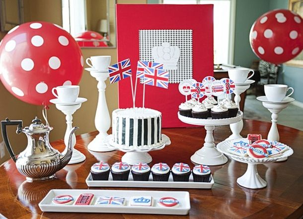 This is a GREAT blog that shows many options that I like for a British-themed shower. Many can be handmade.