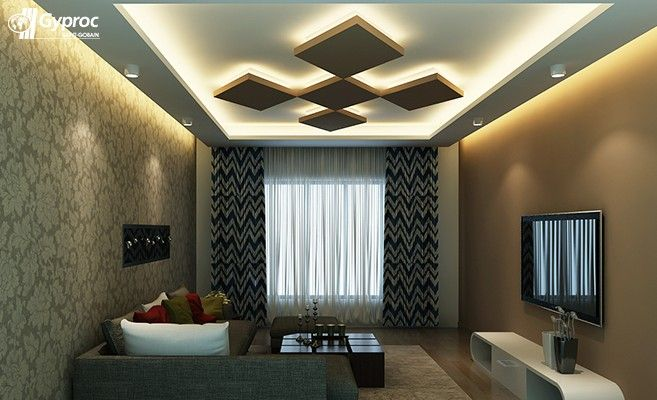 False ceiling designs for living room saint gobain for Gypsum colour