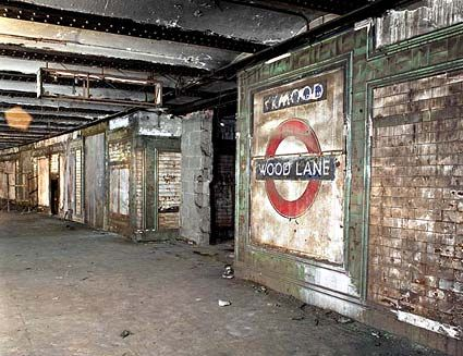 The abandoned Wood Lane tube station in London (closed in 1947).