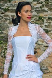 Long Sleeve Lace Bolero with Ruffle Trim