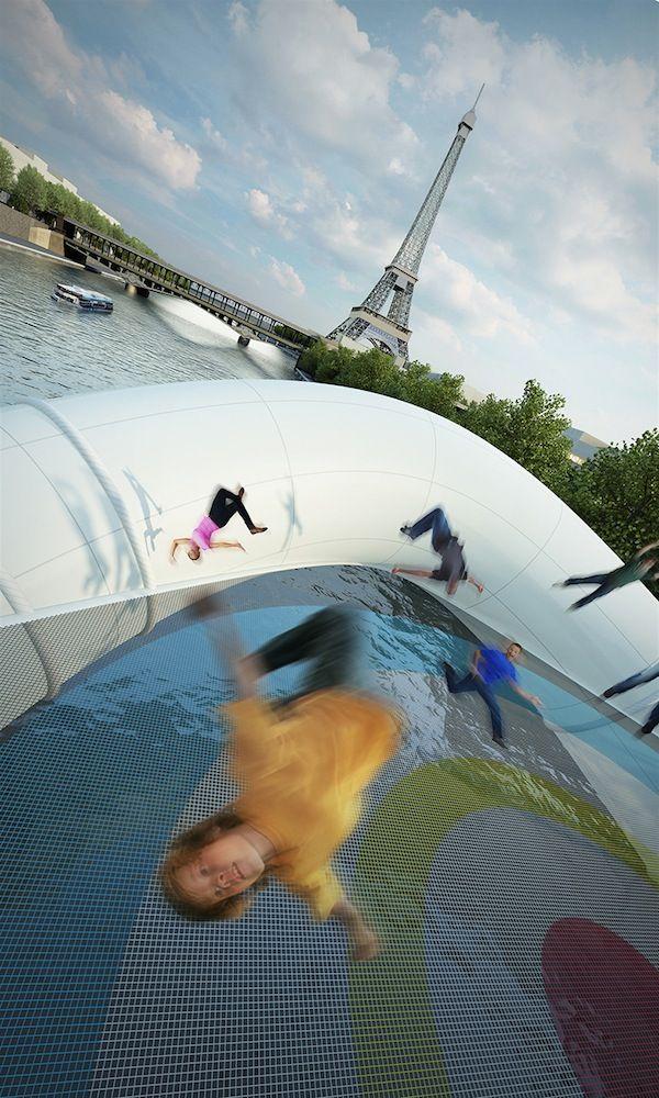 Conheça a ponte inflável de trampolins que pode ir para o Rio Sena