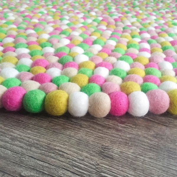 Felt Ball Rug - Wildflowers. So perfect for a nursery right through to a teenage space!