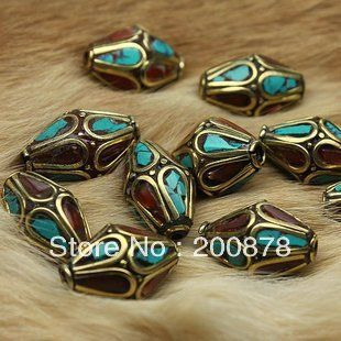 NBB281  Nepal brass vintage loose beads,Coral turquoise coral clips,22*12mm,10 beads lot