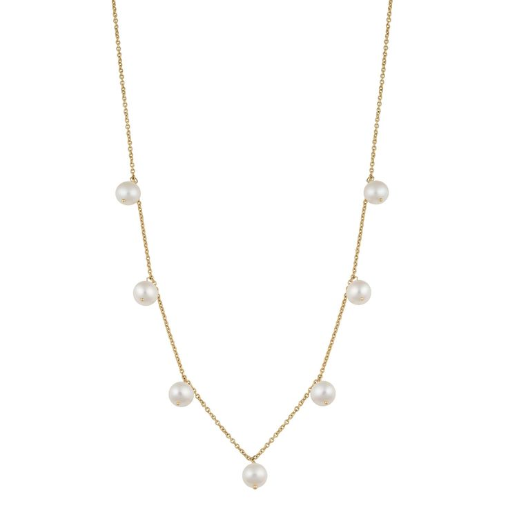 Fremada 14k Gold White Freshwater Pearl Tin-cup Cleo Necklace