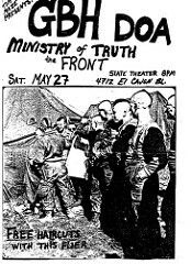 GRIEVOUS BODILY HARM  (G.B.H.), DEAD ON ARRIVAL, MINISTRY OF TRUTH and the FRONT.