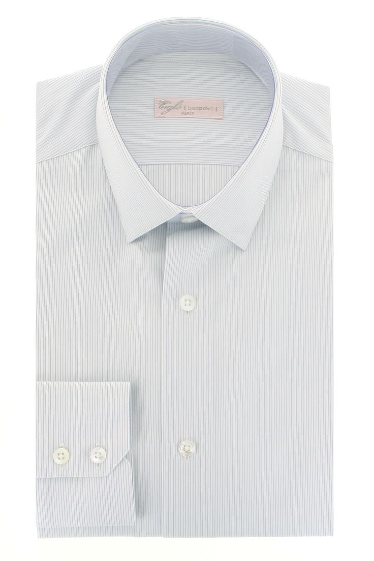 chemise sur mesure en coton 120 2 sictess col semi italien pointe de 6 et pan coup deux