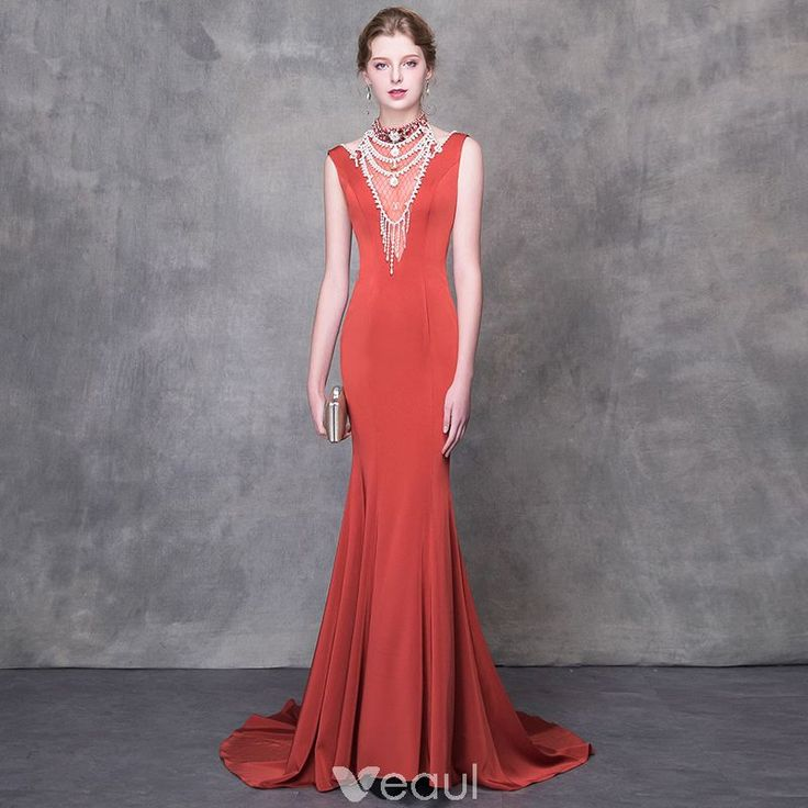 Luxury / Gorgeous Orange Evening Dresses 2018 Trumpet / Mermaid Beading Crystal Pearl High Neck Backless Sleeveless Sweep Train Formal Dresses