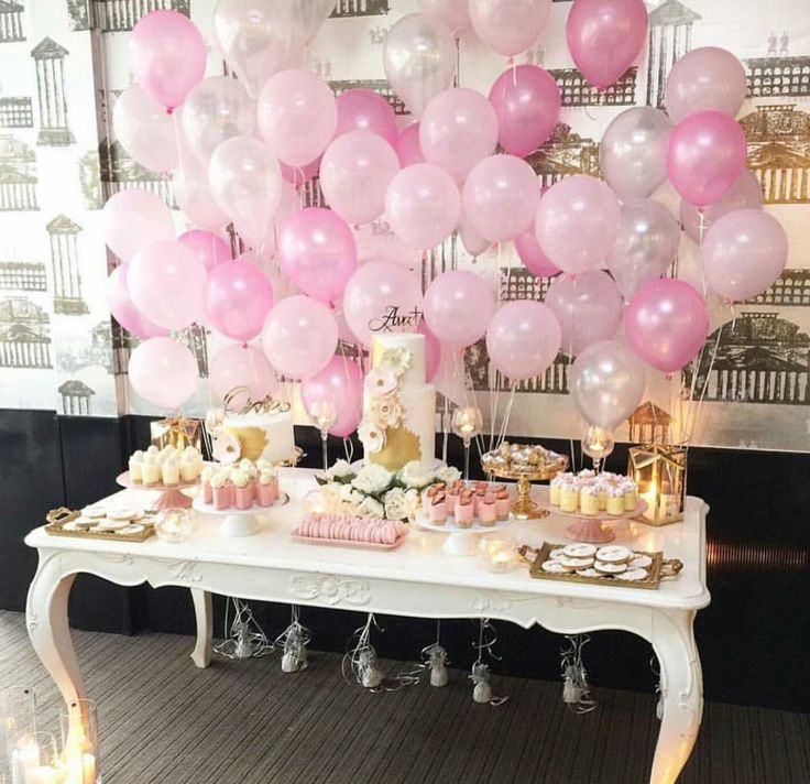Sweets buffet. Love the balloons table backdrop