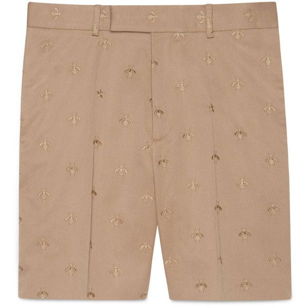 Gucci Cotton Short With Bee ($620) ❤ liked on Polyvore featuring men's fashion, men's clothing, men's shorts, khaki, mens khaki shorts, mens short khaki shorts, mens embroidered shorts, mens short length shorts and mens short shorts