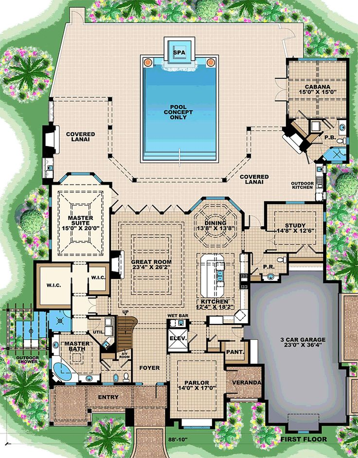 Florida mediterranean house plan 75938 mediterranean for Florida mediterranean house plans