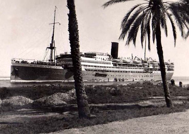 Royal Rotterdam Lloyd MS Sibajak, transiting Suez Canal 1954.