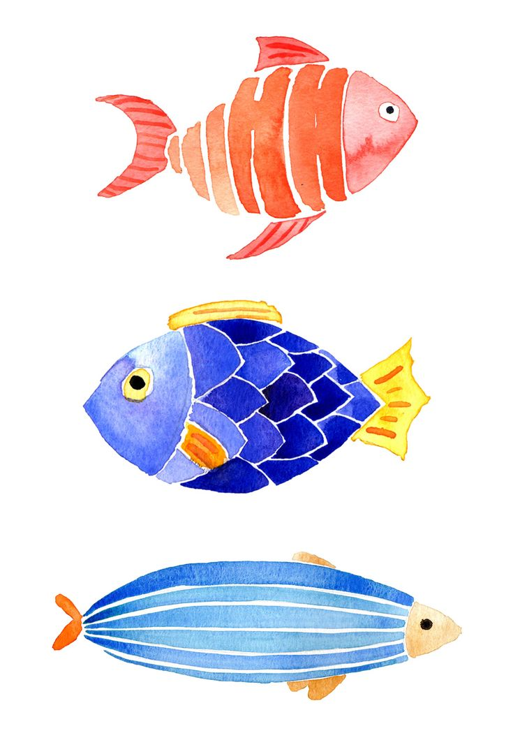 Watercolour idea: The cute Watercolor | Fishes |  by The JanuaryJane are almost comical.  Easy shapes, just 'colour them in, leaving white between the shapes.  You could use candle wax or white crayon to 'wax resist' the lines too.