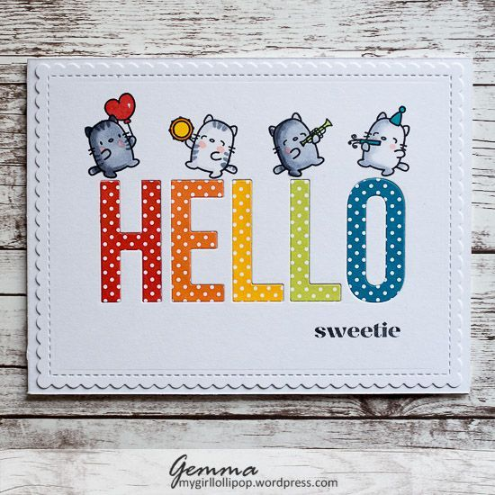 This is my first card using a tic-tac-toe challenge board, and I really enjoyed it! I chose a diagonal line, which gave me these three elements: * Animals * Big words / letters * Die cutting I&#821…
