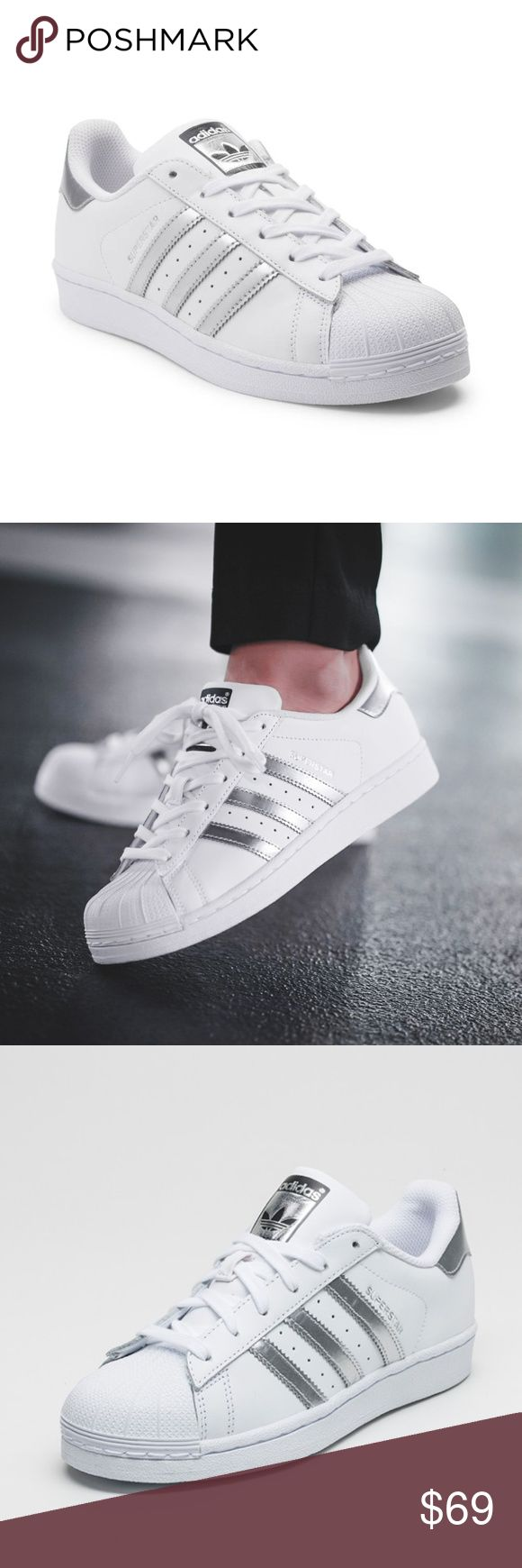 ADIDAS Superstar Original Fashion Sneakers NIB! In White/Silver   *Classic sneakers with three stripes and foil print  *Leather and rubber upper  *Shell toe  *Lace-up vamp *Metallic heel patch  *Rubber sole  ❌NO TRADES  I❤️Bundles ❤️REASONABLE OFFERS ONLY PLEASE❤️ adidas Shoes Sneakers