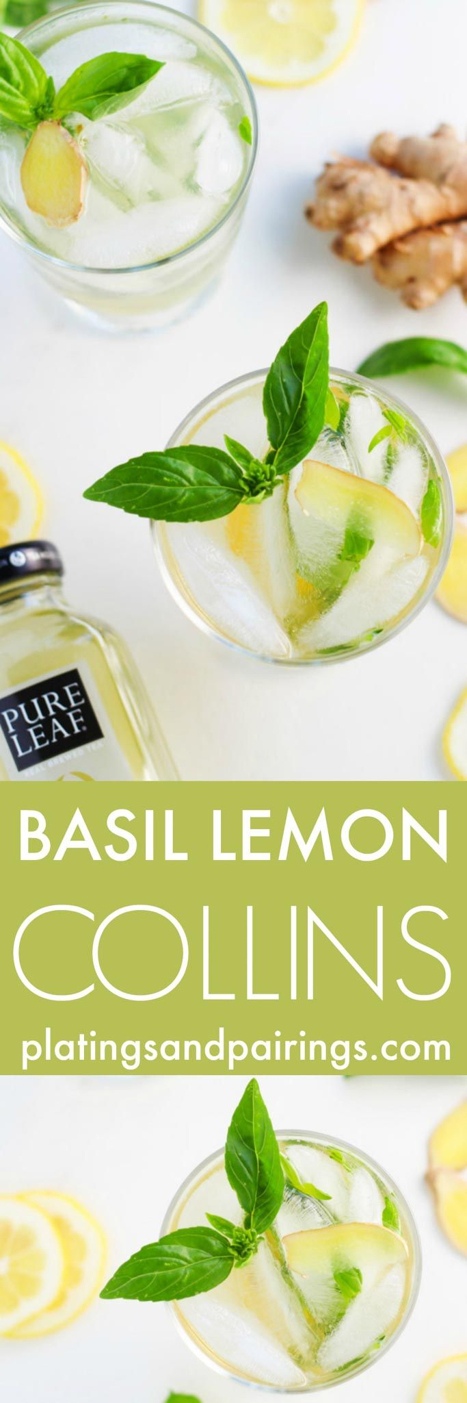 This Basil Lemon Collins is a refreshing cocktail made with gin, basil, lemon, ginger and tea. It's a perfect drink for sipping in the summer sunshine! | platingsandpairings.com