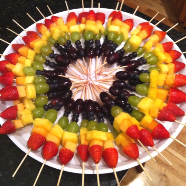 Fruit Kebobs- room for fruit dip in the middle.