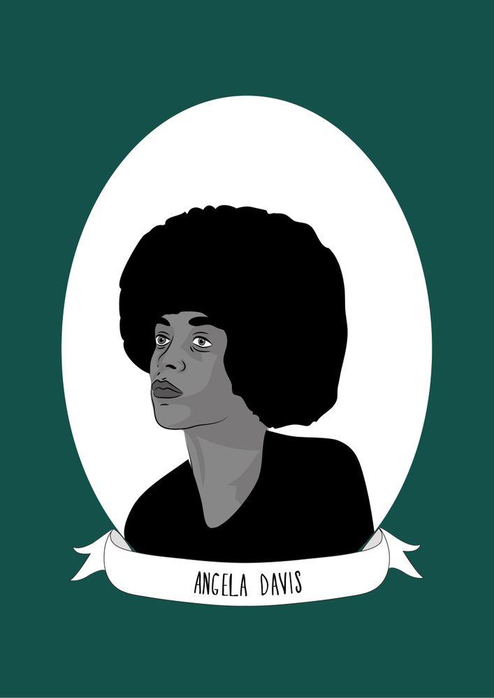 Angela Davis Illustrated Portrait Art Print By Illustrated Women In History X Small Angela Davis Black Lives Matter Art Portrait Art