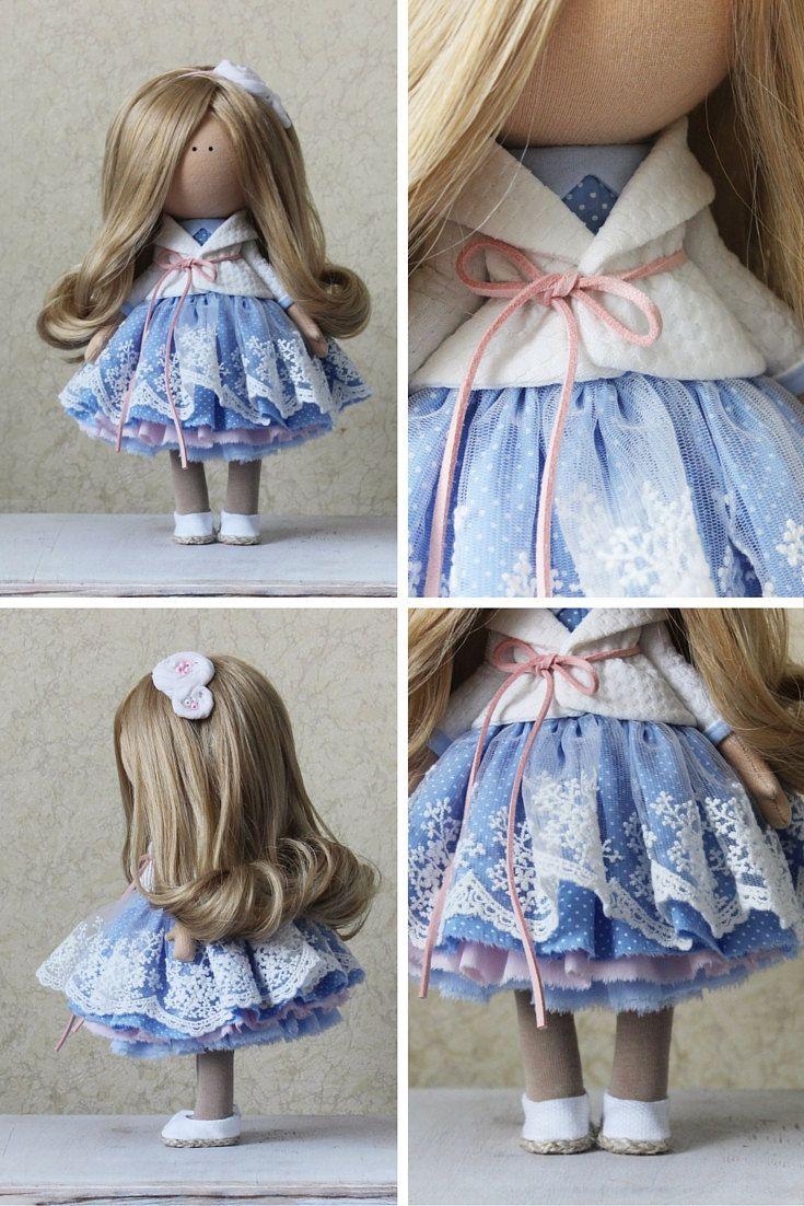 Handmade doll Tilda doll Rag doll Art doll blonde blue color soft doll Decor…